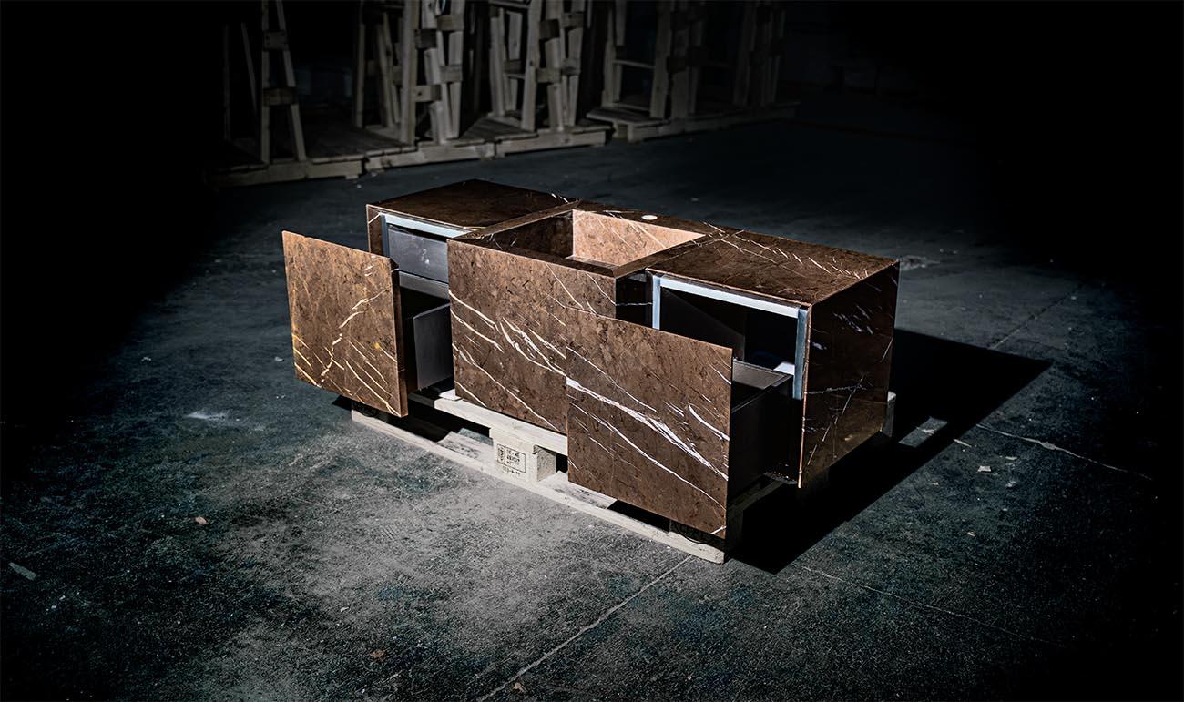 Machined marble and natural stone furniture - Pietra grey trio light marble - Muebles mecanizados de mármol y piedra natural