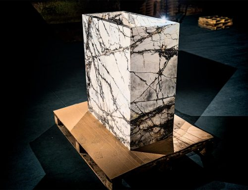 Lightweight marble pieces with a wrap-around effect