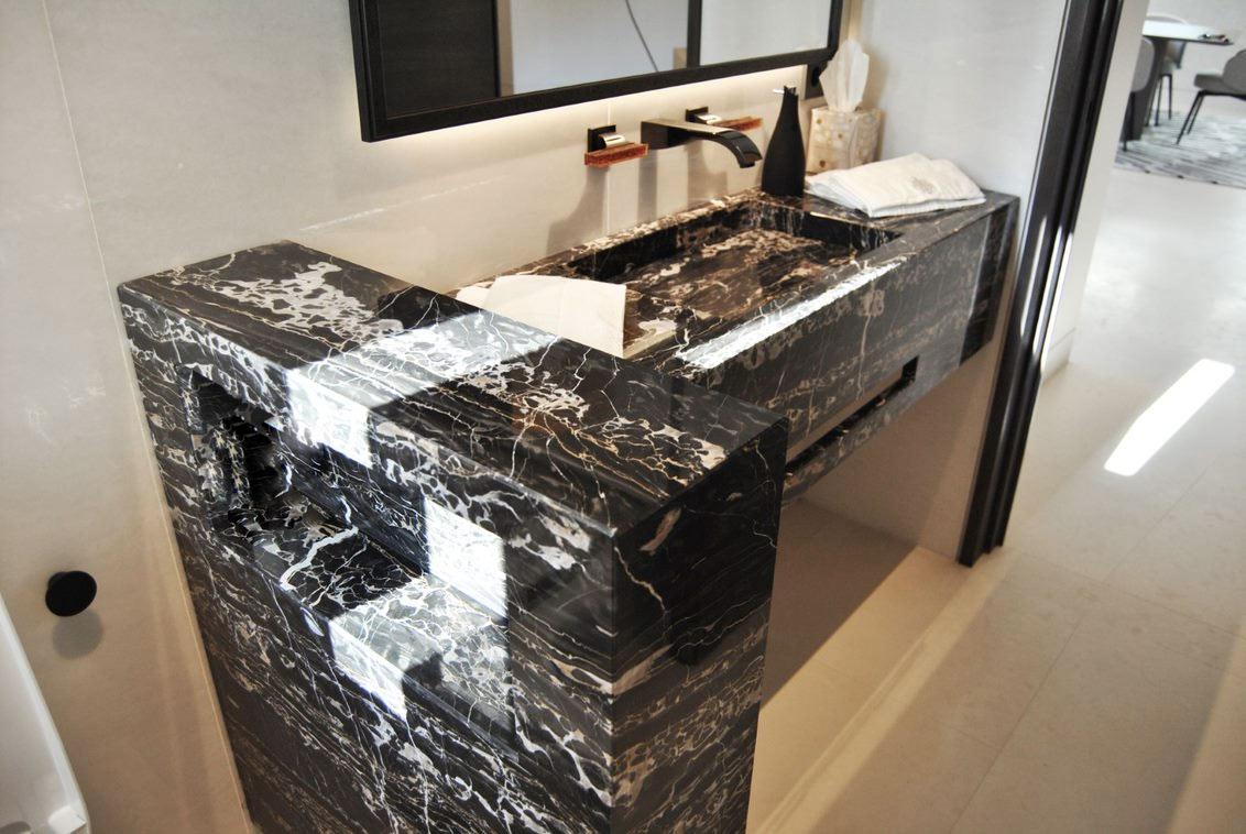 Ultra-light tailor-made black marble bathroom furniture production -