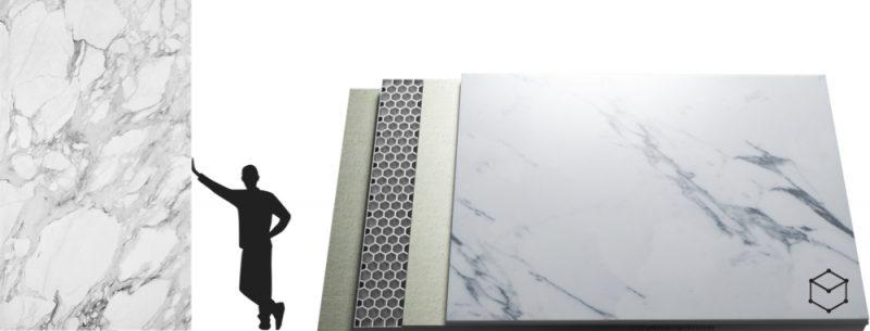 Paneles de mármol blanco para gran formato