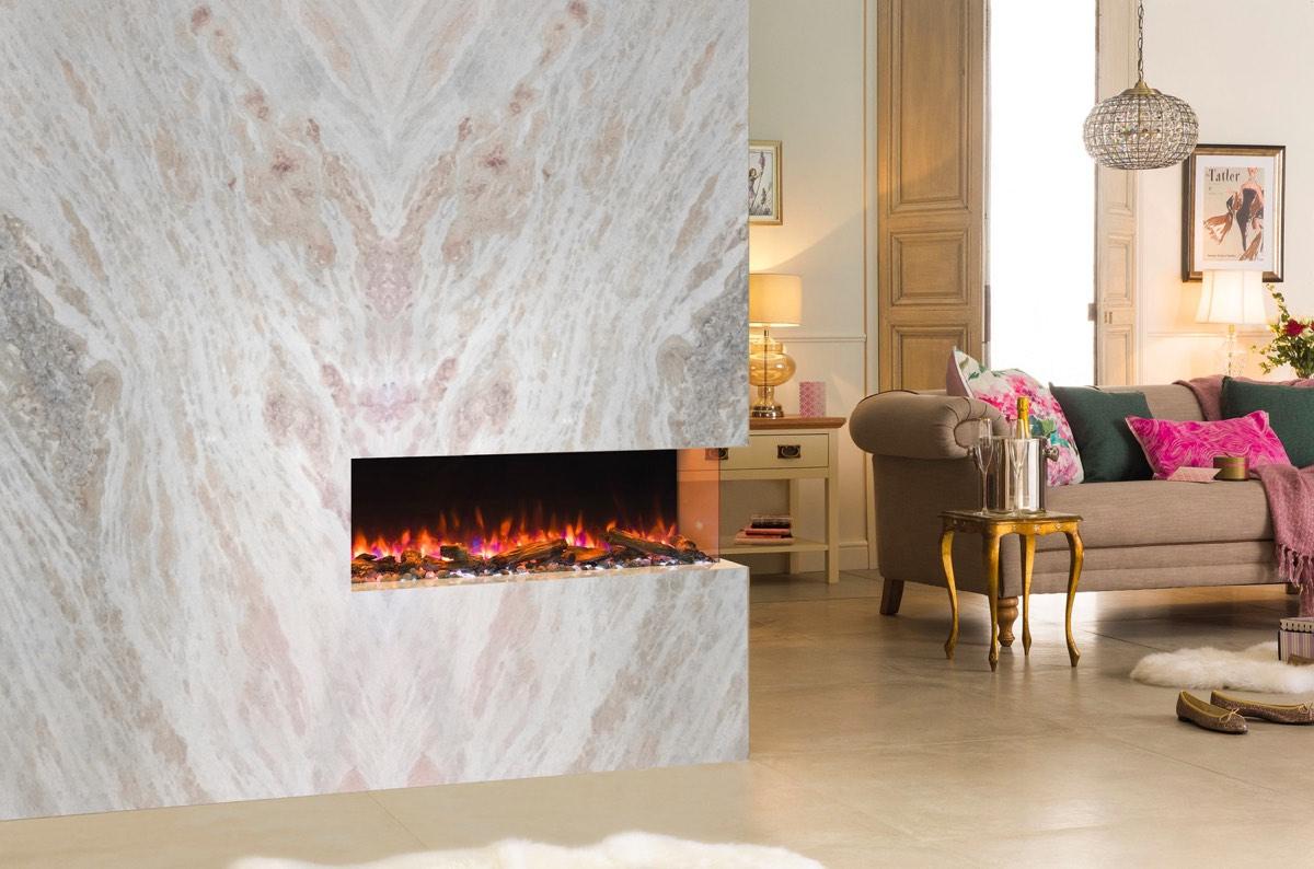 Chimeneas de mármol en columna y gran formato - Mármol Savannah Pink marble -Large format double sided marble fireplaces
